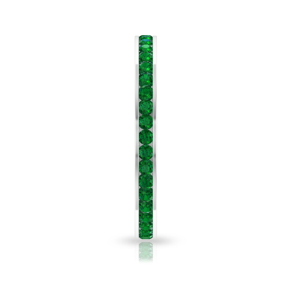 3/4 CT Channel Set May Birthstone Emerald Stackable Promise Ring