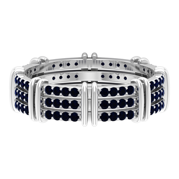 3/4 CT Three Row Blue Sapphire Wide Band Ring