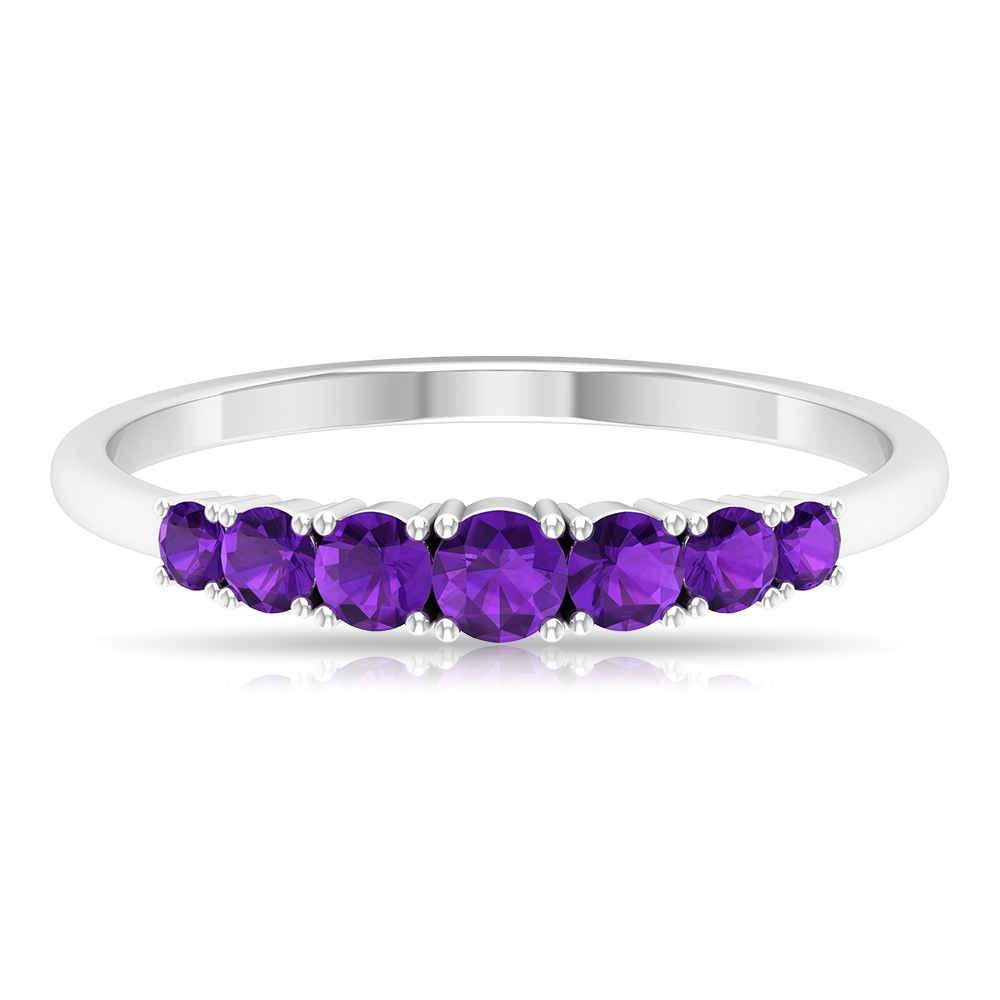 1/2 CT Graduated Style Amethyst Seven Stone Band Ring in 4 Prong Setting