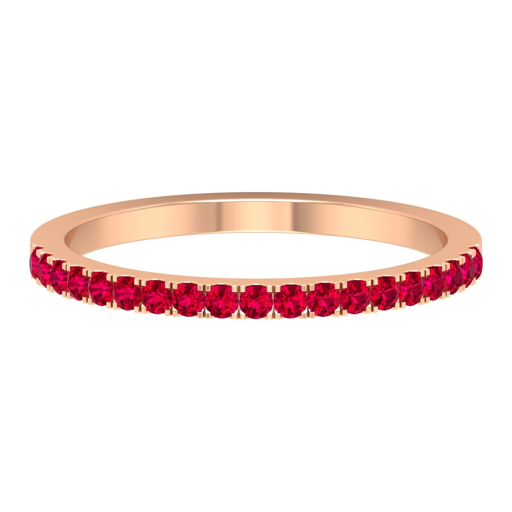 1/4 CT Ruby Half Eternity Stackable Band Ring