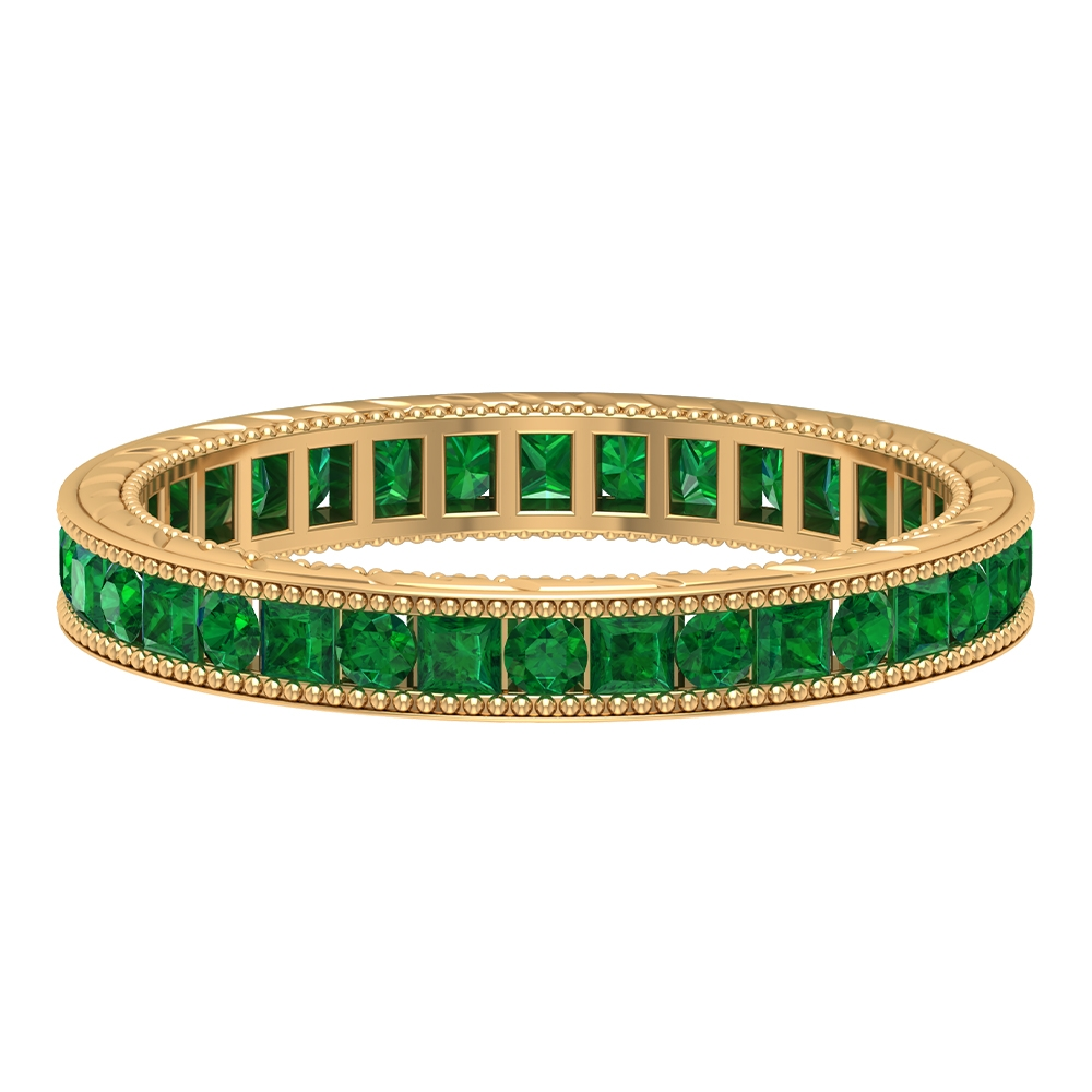 1.25 CT Round and Princess Cut Emerald Eternity Wedding Band with Milgrains