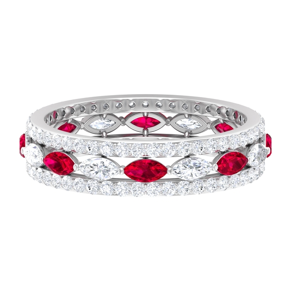 2.25 CT Marquise Cut Created Ruby and Diamond Accent Wedding Band Ring