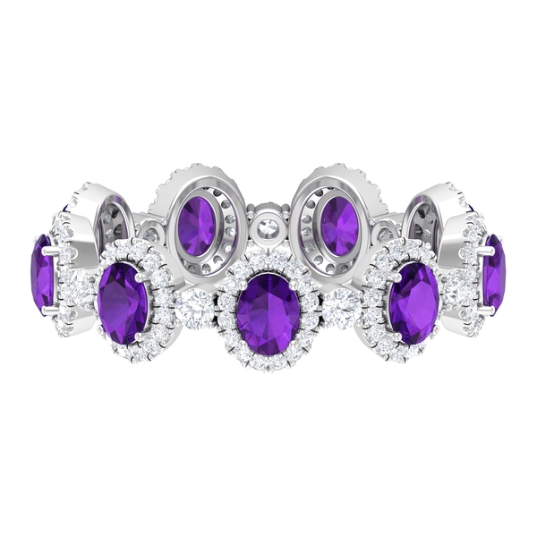 3.25 CT Amethyst and Diamond Accent Designer Wedding Band Ring