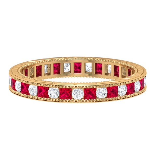 1.25 CT Ruby and Diamond Eternity Band Ring