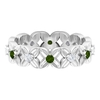 1/2 CT Green Tourmaline and Diamond Gold Floral Band Ring