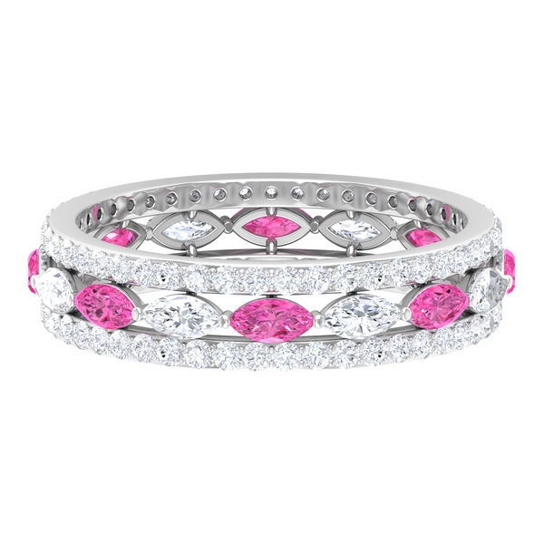 2.25 CT Marquise Cut Created Pink Sapphire and Diamond Accent Wedding Band Ring