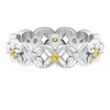 1/2 CT Citrine and Diamond Floral Gold Band Ring