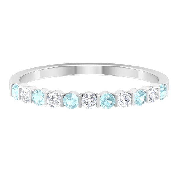 0.50 CT Bar Set Sky Blue Topaz and Diamond Stackable Band Ring