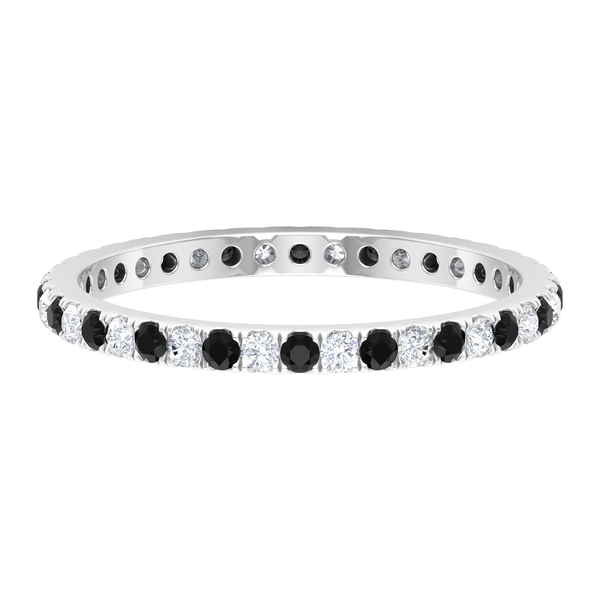 1/2 CT Created Black and White Diamond Full Eternity Stackable Band Ring