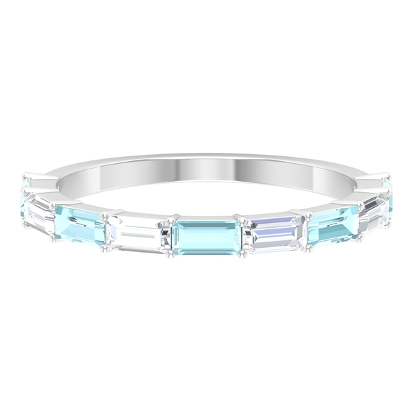 1 CT Half Eternity Band Ring with Sky Blue Topaz and Diamond