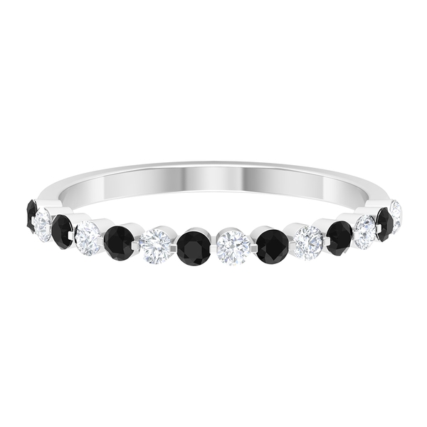 1/2 CT Black Onyx and Diamond Floating Half Eternity Band Ring For Women