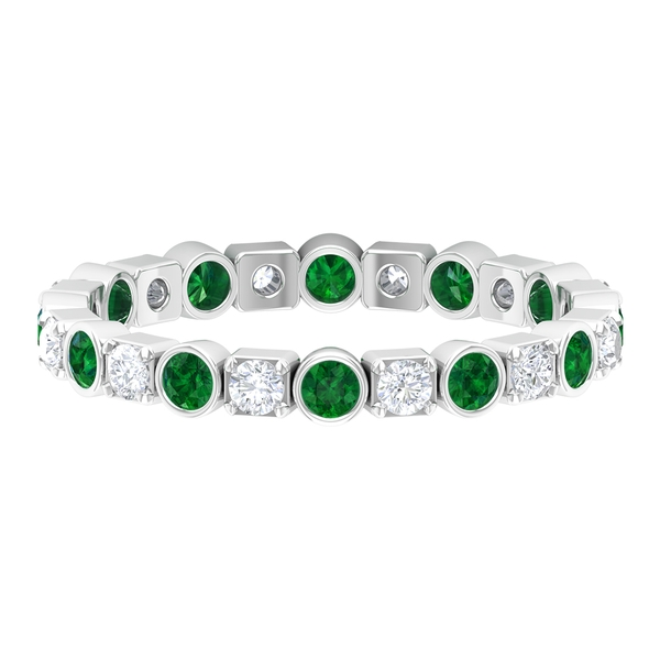 1 CT Created Emerald and Diamond Eternity Band Ring