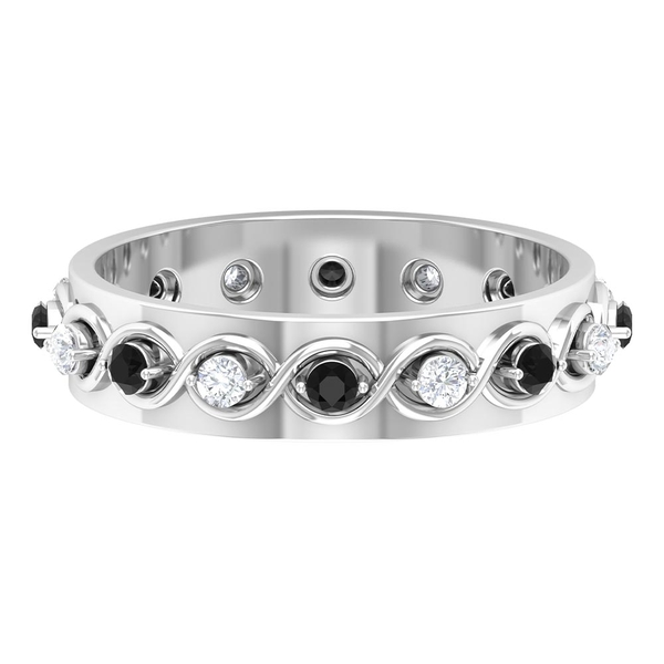 1/2 CT Wide Band Rings for Women with Black Onyx and Diamond
