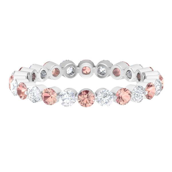 Eternity Ring with 2 CT Created Morganite and Diamond in Floating Setting