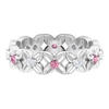 0.50 CT Pink Tourmaline and Diamond Floral Band Ring