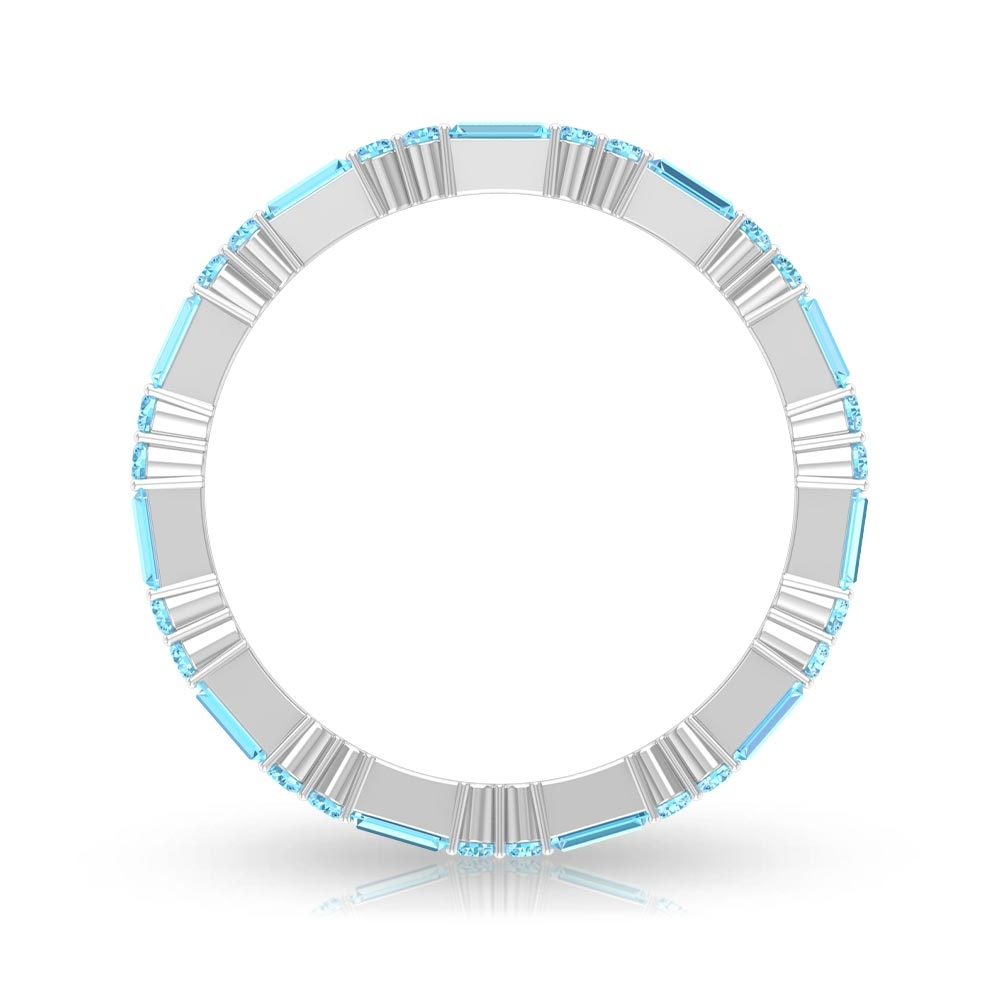 1 CT Aquamarine Eternity Stackable Band ring for Women
