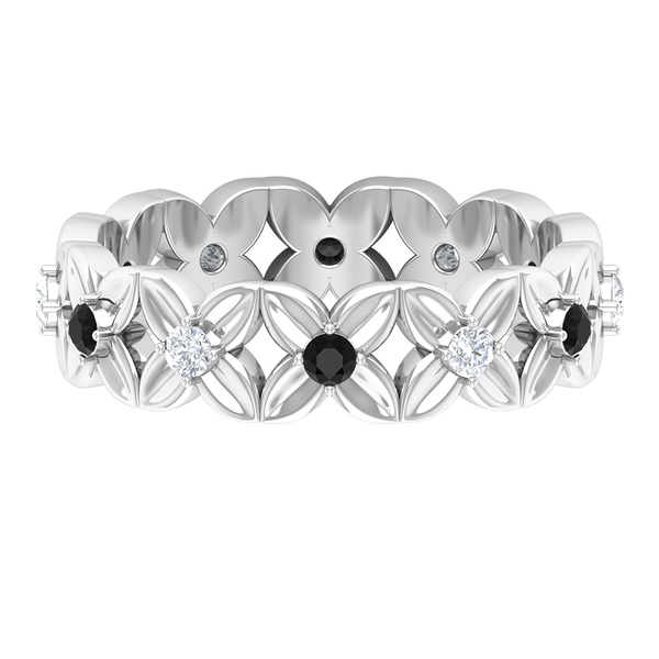 0.50 CT Black Onyx and Diamond Floral Band Ring