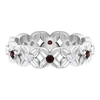 1/2 CT Garnet and Diamond Floral Gold Band Ring