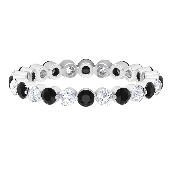 1.50 CT Black Onyx and Diamond Floating Eternity Band Ring For Women
