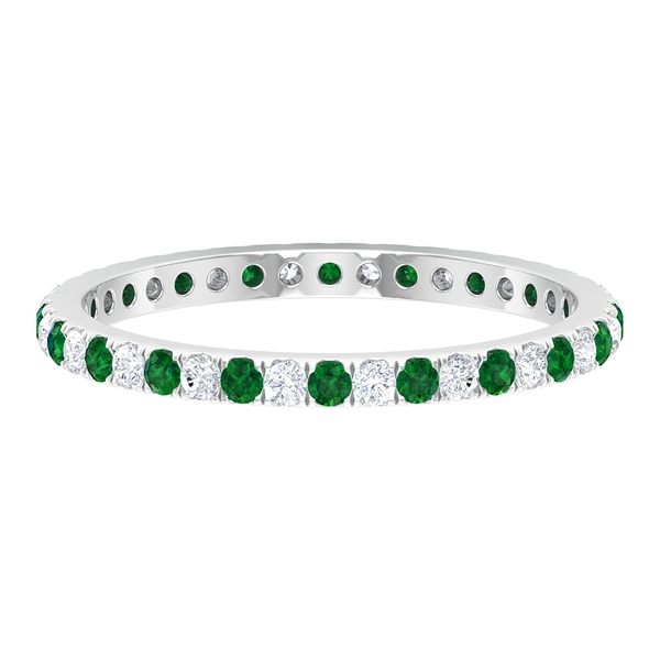 1/2 CT Created Emerald and Diamond Eternity Stackable Ring