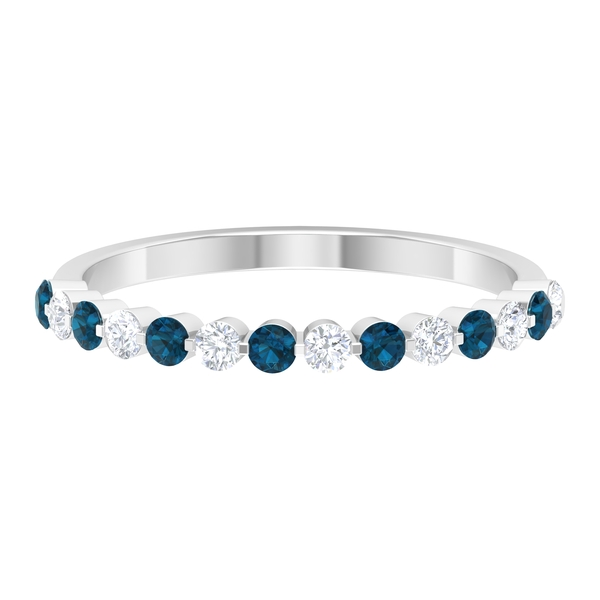 Floating Half Eternity Band Ring with 0.50 CT London Blue Topaz and Diamond