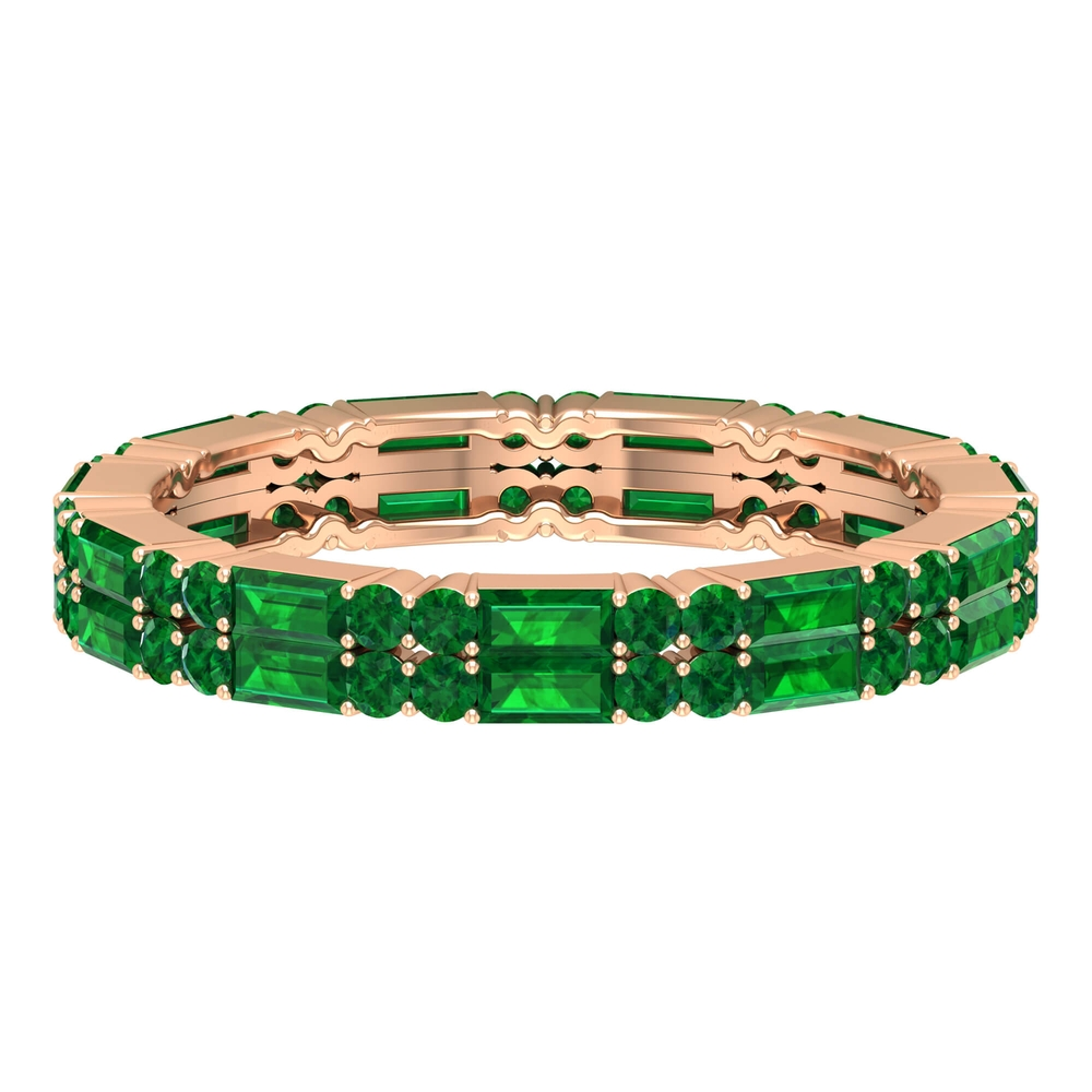 May Birthstone 2.25 CT Emerald Two Row Gold Eternity Ring for Women