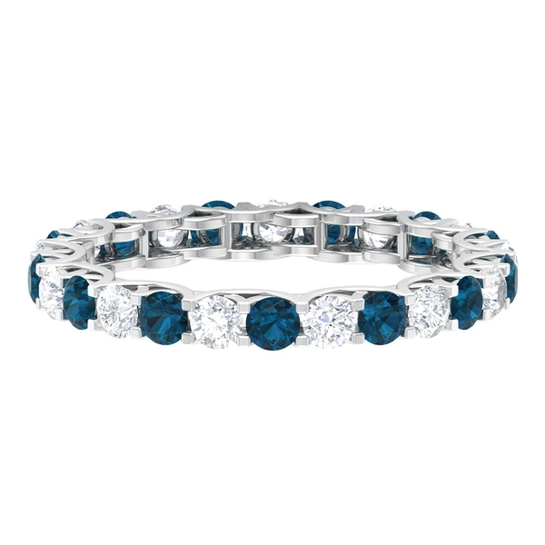 Eternity Band Ring with 2 CT London Blue Topaz and Diamond
