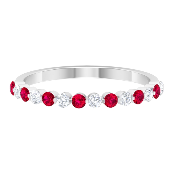 1/2 CT Created Ruby and Diamond Half Eternity Floating Ring
