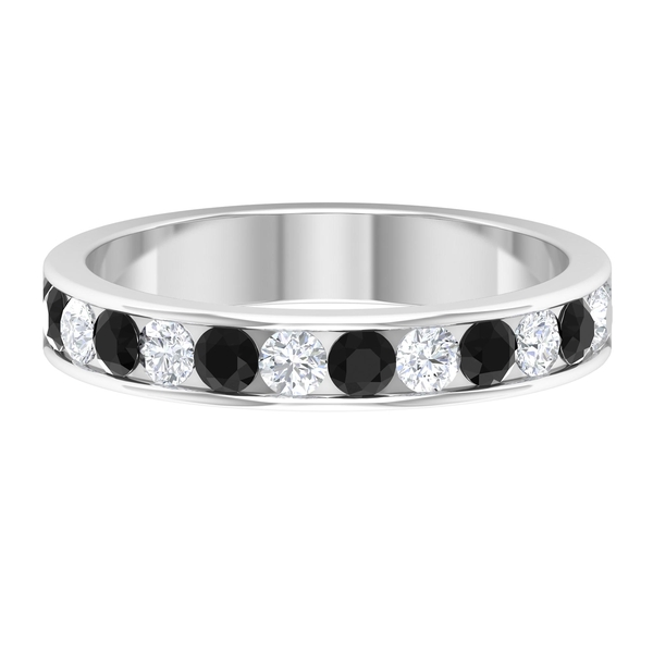 1 CT Channel Set Created Black and White Diamond Band Ring for Women