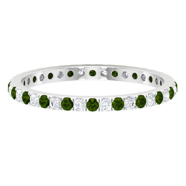1/2 CT Green Tourmaline and Diamond Eternity Stackable Ring