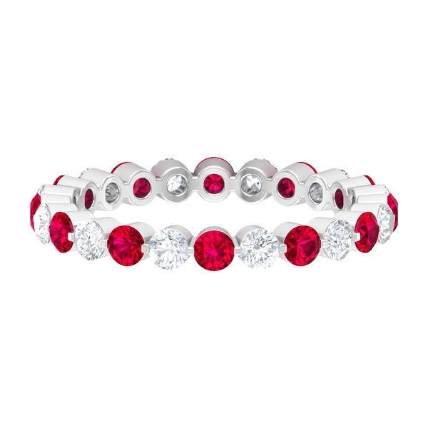 2 CT Created Ruby and Diamond Floating Eternity Ring