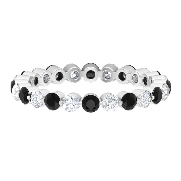 Eternity Band Ring with 1.75 CT Diamond and Created Black Diamond