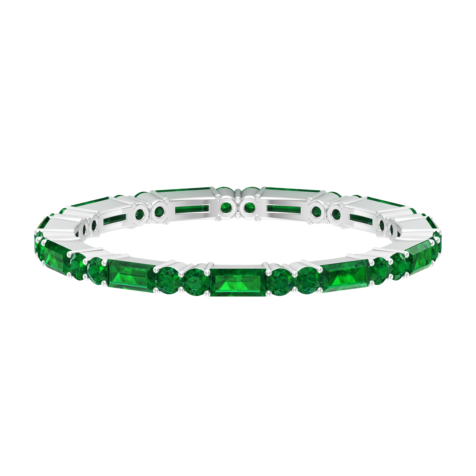 1.5 CT Prong Set Baguette and Round Shape Emerald Stackable Band Ring