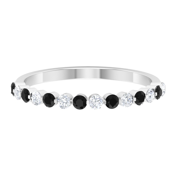 Floating Half Eternity Band Ring with 3.50 CT Diamond and Created Black Diamond