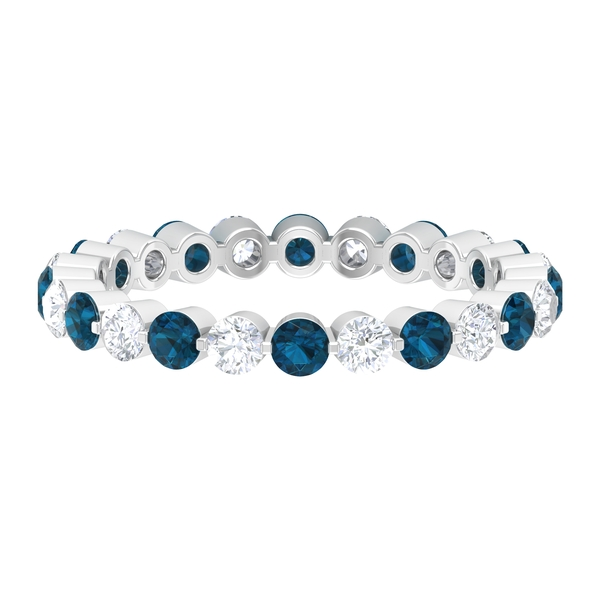Floating Eternity Band Ring with 2 CT London Blue Topaz and Diamond