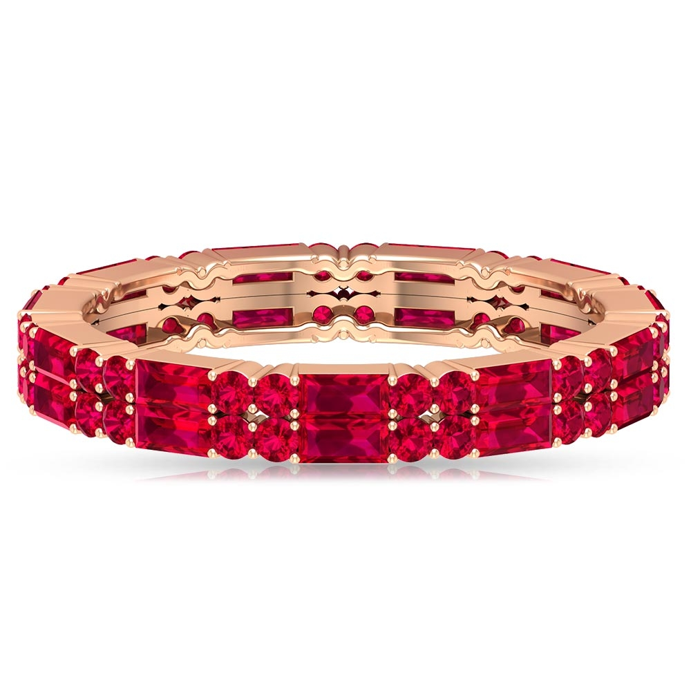 2.25 CT Baguette and Round Cut Ruby Two Row Eternity Ring
