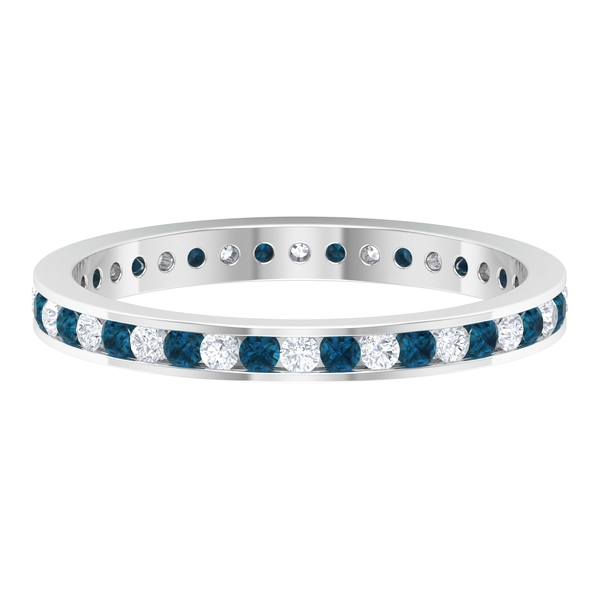 Eternity Band Ring with 0.50 CT London Blue Topaz and Diamond