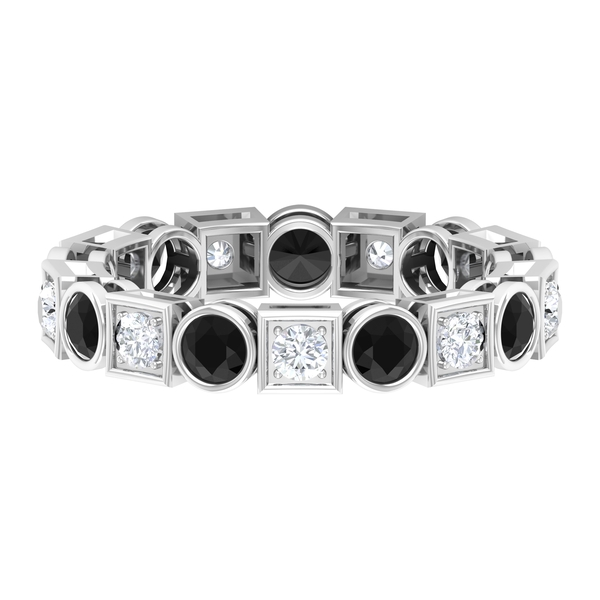 2 CT Created Black and White Diamond Eternity Band Ring