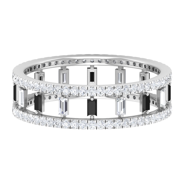 1 CT Created Black and White Diamond Minimal Band Ring (AAA Quality)