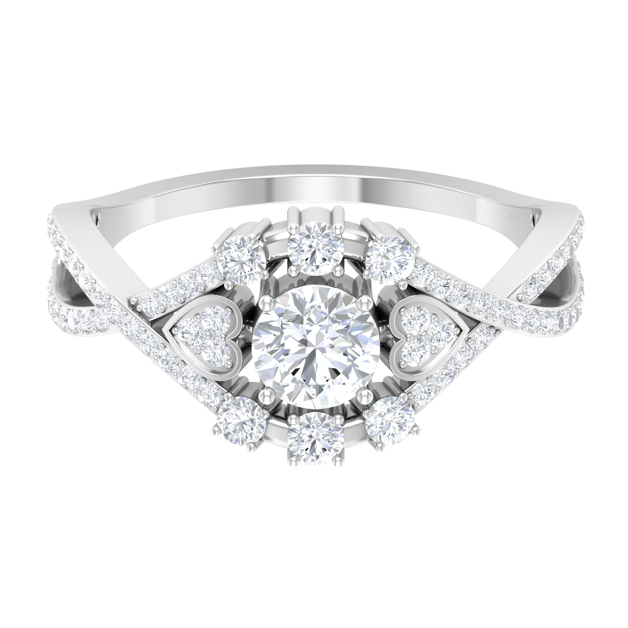 1.25 CT Diamond Engagement Ring with Crossover Shank in Prong Setting