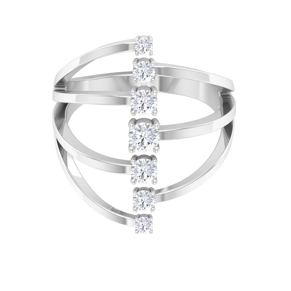 1/2 CT Prong Set Diamond Cuff Ring in Graduated Style