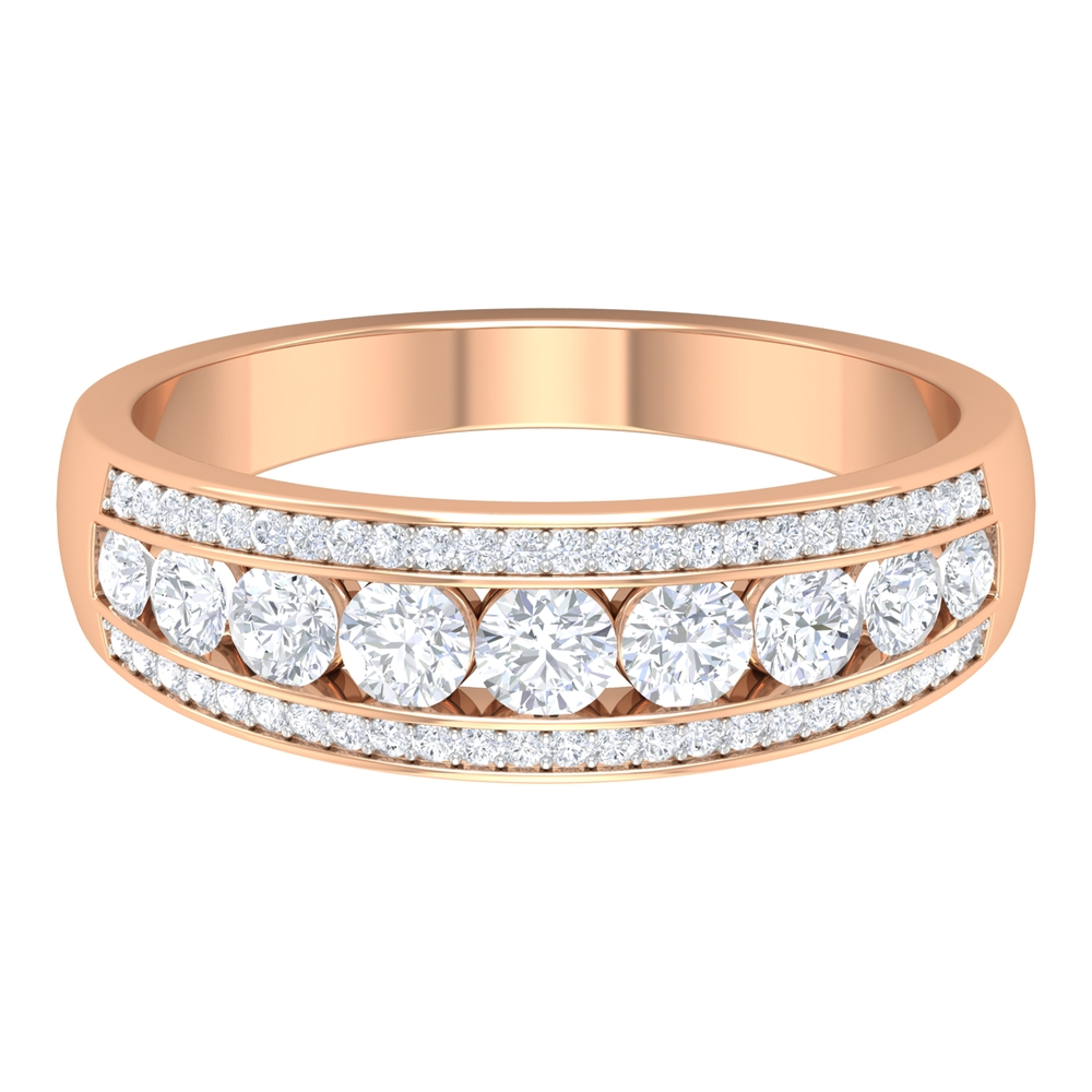 1 CT Accent Set Diamond Anniversary Ring in Graduated Style
