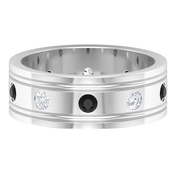 0.75 CT Gypsy Set Created Black and White Diamond Gold Band Ring