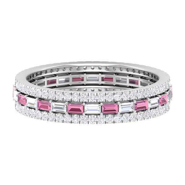1.25 CT Baguette Cut Pink Tourmaline and Diamond Classic Wedding Band Ring
