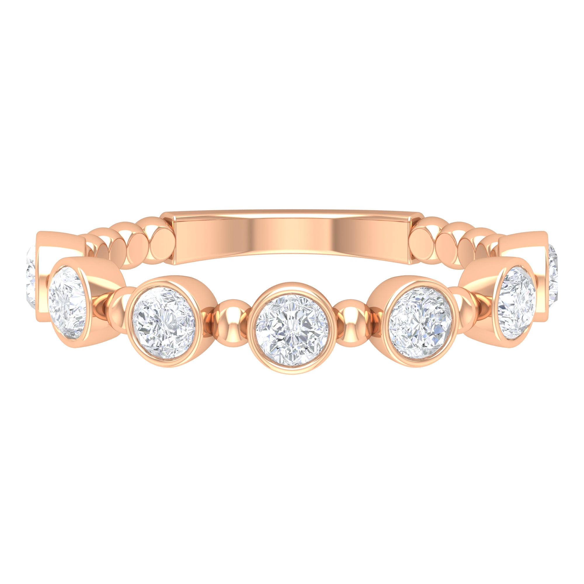 0.75 CT Diamond Stackable Gold Ring with Beaded Embellishment and Bezel Setting for Women