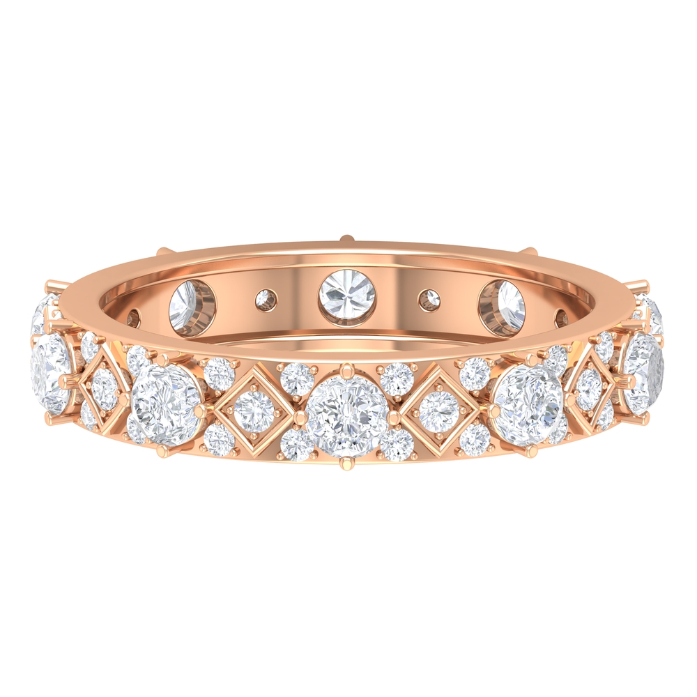 1.50 CT Diamond Bridal Gold Wedding Band in Prong Setting for Women
