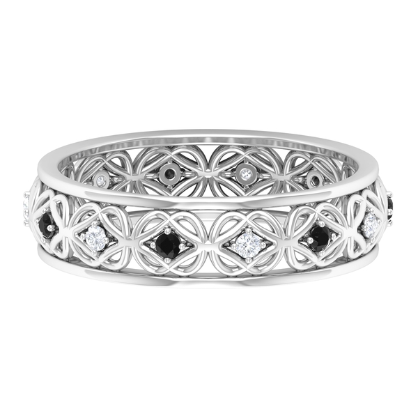 0.25 CT Created Black and White Diamond Celtic Band Ring