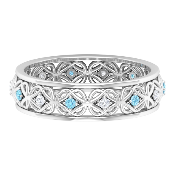1/4 CT Created Aquamarine and Diamond Celtic Knot Band Ring for Women