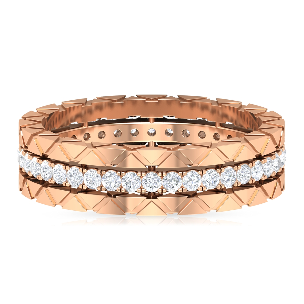 Diamond Eternity and Gold Textured Band Ring for Women