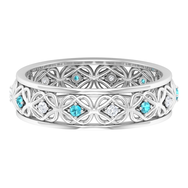 Celtic Band Ring with 0.25 CT Swiss Blue Topaz and Diamond